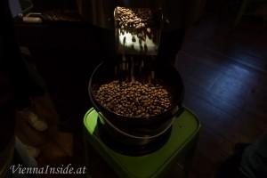 Jetzt sind die Bohnen fertig für die Kaffeemaschine.