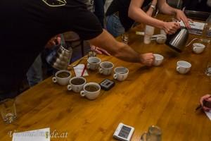 Vorbereitung für die Kaffeeverkostung (Cupping/Tasting)