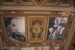 1894 erteilte das Ministerium für Kultus und Unterricht Gustav Klimt und Franz Matsch  den Auftrag zur Anfertigung der Deckengemälde im großen Festsaal.