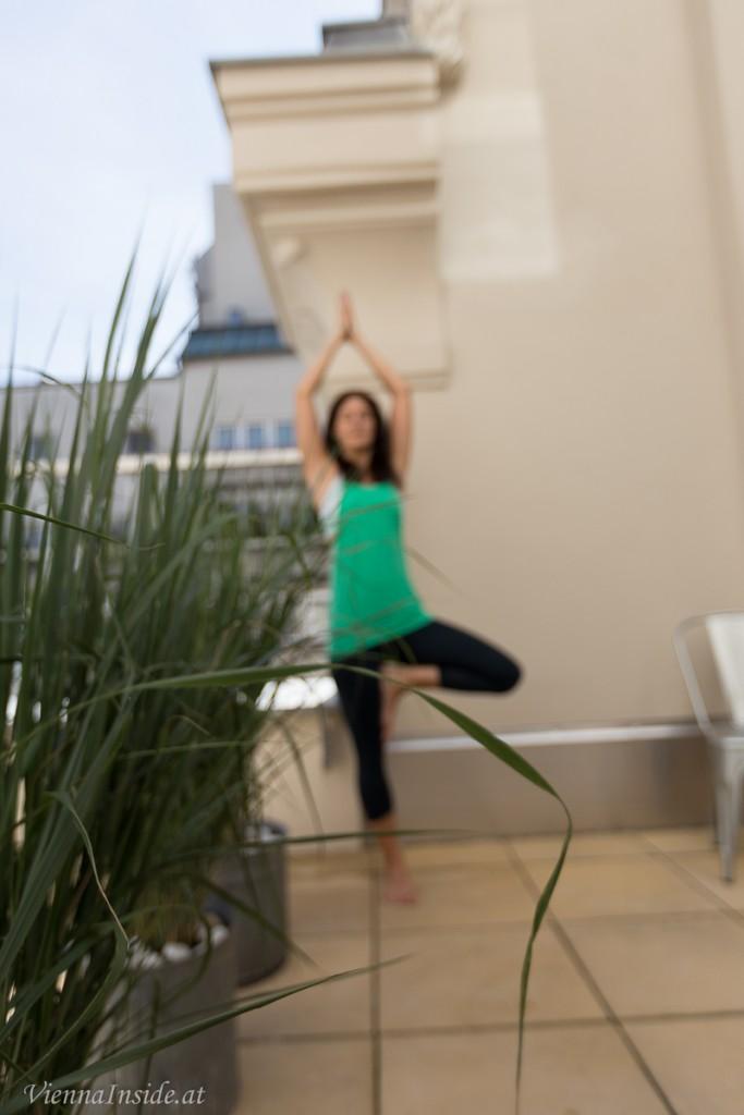 Auch wenn man jetzt nicht - wie Andrea Yogaübungen macht, ist die Terrasse sehr entspannend.