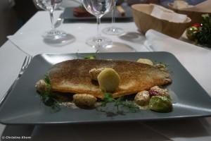 gebratene Lachsforelle mit Gnocchi,Kohlsprossen und Senf