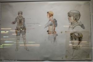 Irgendwann zwischen dem zweiten und dritten Drehbuchentwurf überlegte George Lucas kurzzeitig, ob er Luke Skywalker durch eine Prinzessin ersetzten sollte. Hier sieht man den Übergang aus der Feder von Ralph McQuarrie. Schlußendlich wurden dann die Zwillinge Luke und Leila daraus.