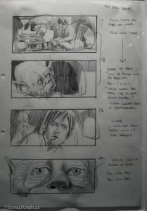 Ein Storyboard aus der Szene, als Luke Meister Yoda überredet, ihn zu seinem Schüler zu machen. Von Ivor Beddoes
