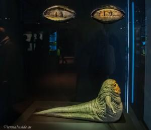 Jabba der Hutte 5 Puppenspieler mussten zusammenarbeiten um der gigantischen Puppe Leben einzuhauchen. Leider sind nur die Augen und noch einige wenige andere Teile von dieser Figur übrig geblieben.