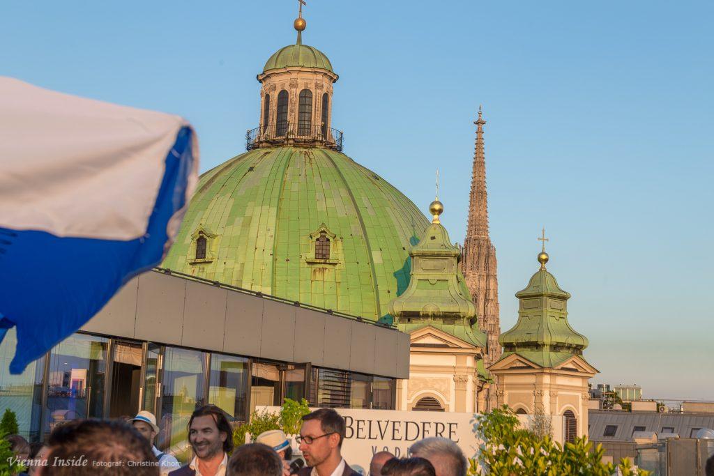 Na ist das ein Blick auf Peterskirche und Steffl.