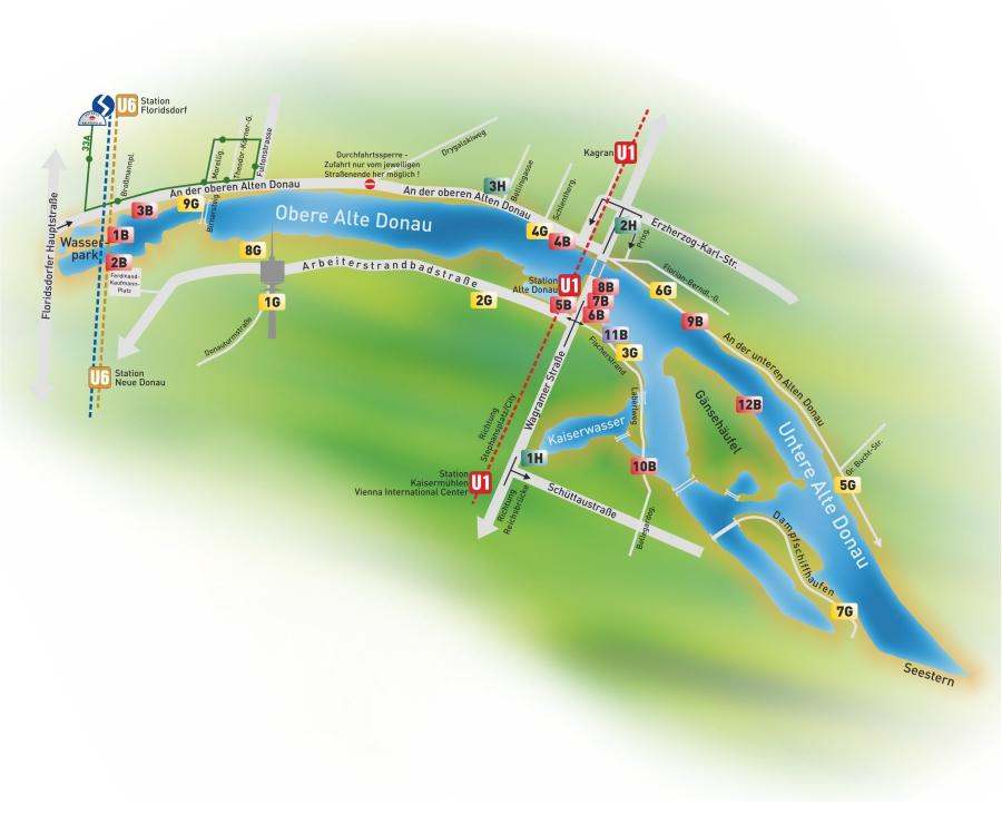 Alte Donau Orientierungsplan