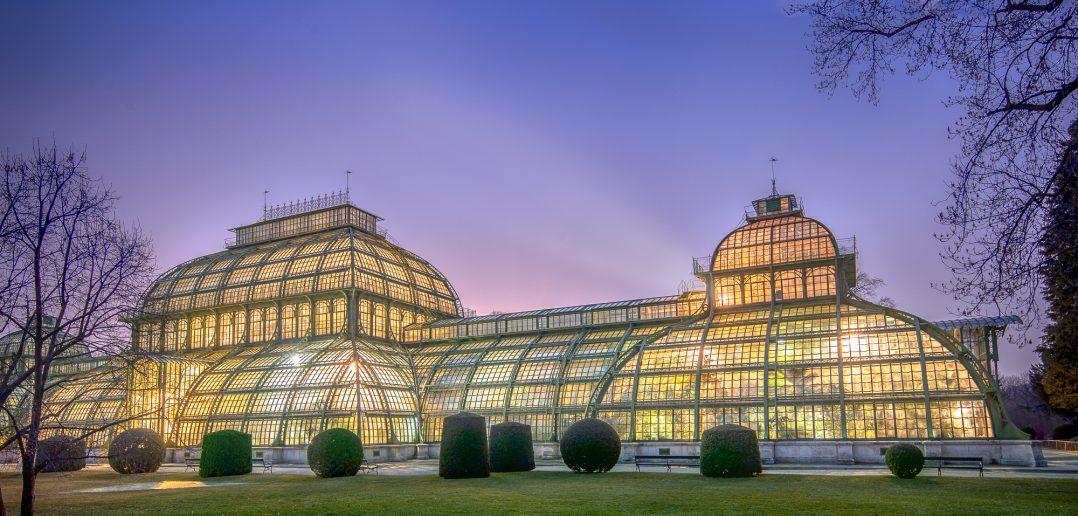 Palmenhaus Schönbrunn bei Nacht