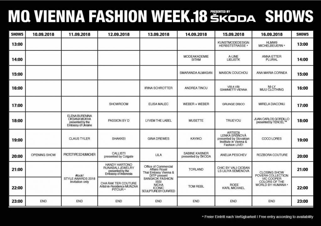 MQ Vienna Fashion Show - Programm